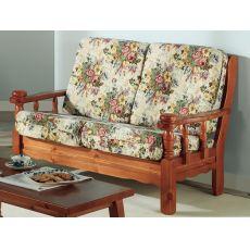 Tirolo Divano - Divano rustico in legno con cuscino, a 2 o 3 posti, diverse tinte e tessuti