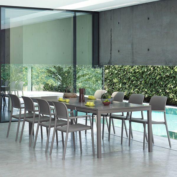 rio mesa extensible de metal con tapa en resina 210x100. Black Bedroom Furniture Sets. Home Design Ideas
