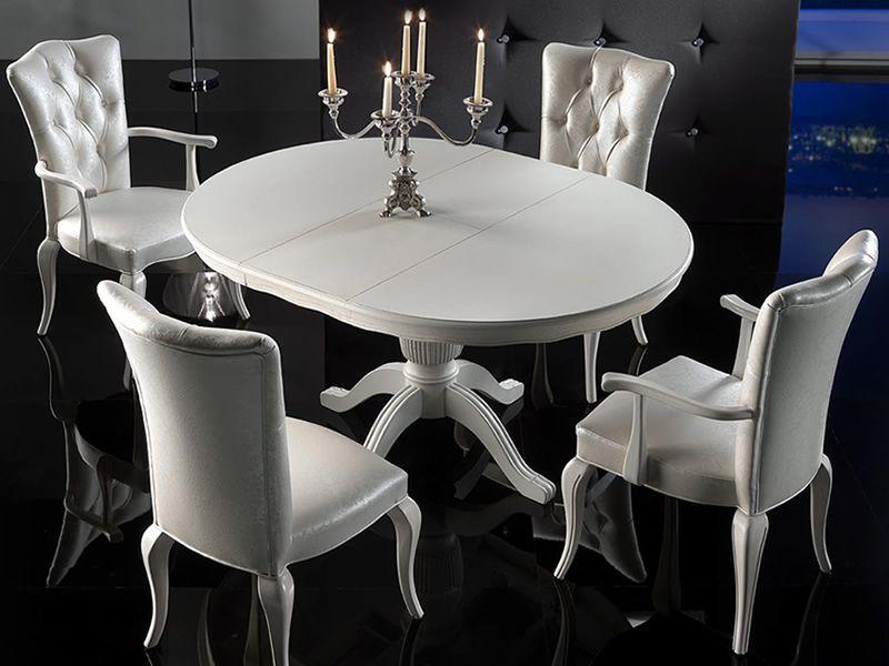 VST152 - Tavolo classico in legno, piano tondo diametro 120cm, diverse finiture - Sediarreda