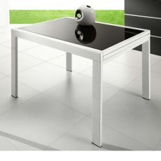 VR120 - Verlängerbarer Tisch aus Metall mit Glasplatte 120 x 90 cm
