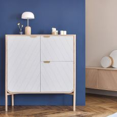 Marius V - Cabinet for living room, in wood, with three doors