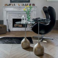 Adachi 8155 - Tavolino Tonin Casa in metallo e agglomerato di marmo, piano in vetro, diverse altezze e colori disponibili