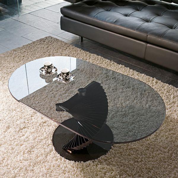 Ariel 6832 - Tavolino Tonin Casa in vetro, piano ovale 100 x 60 cm ...