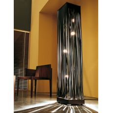 Frange - Design floor lamp made of leather and wood, several colours available