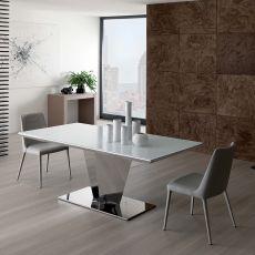 Diamante - Tavolo moderno in metallo, piano in cristallo 180x90 cm, allungabile, diversi colori
