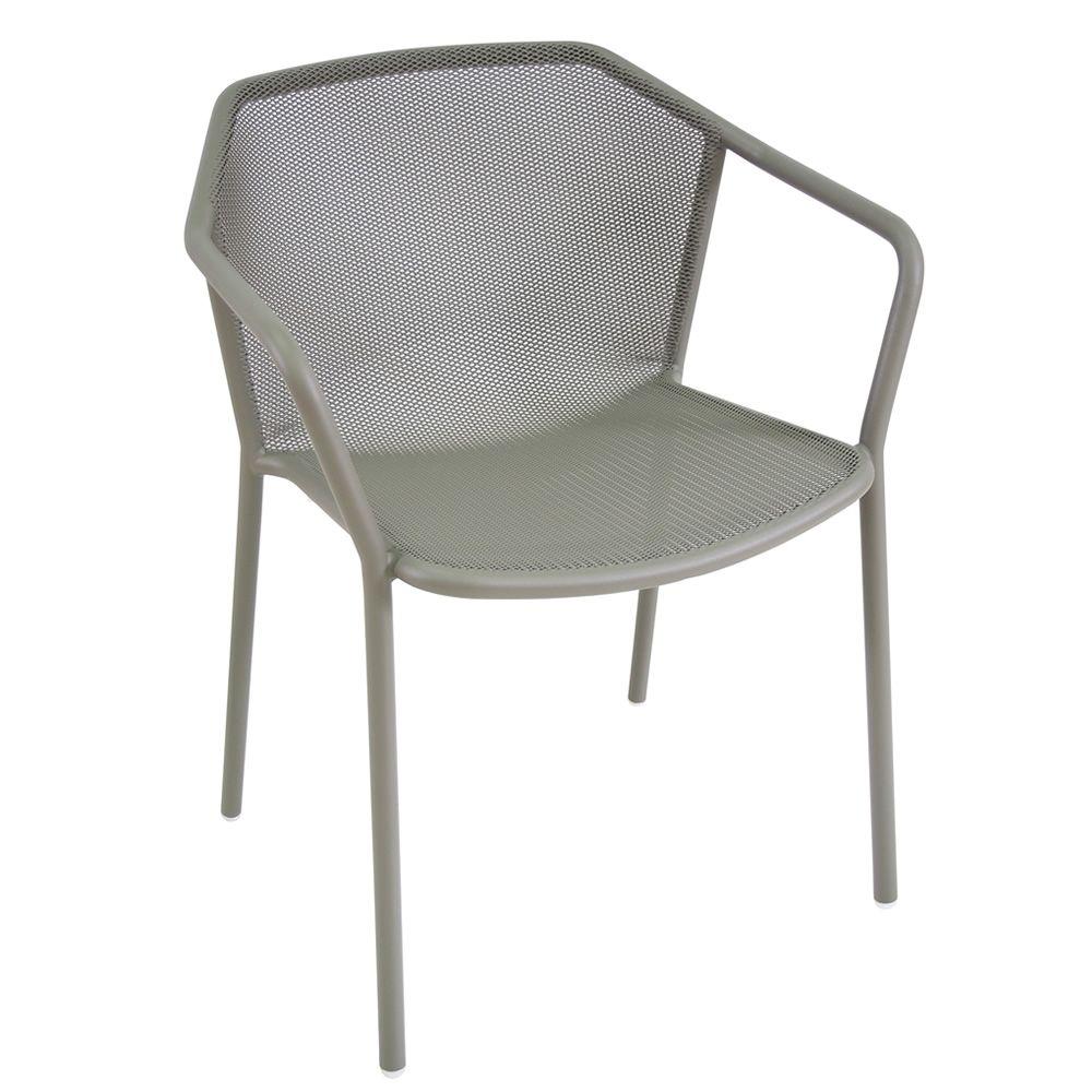 Darwin p fauteuil emu en m tal empilable pour jardin for Chaise empilable