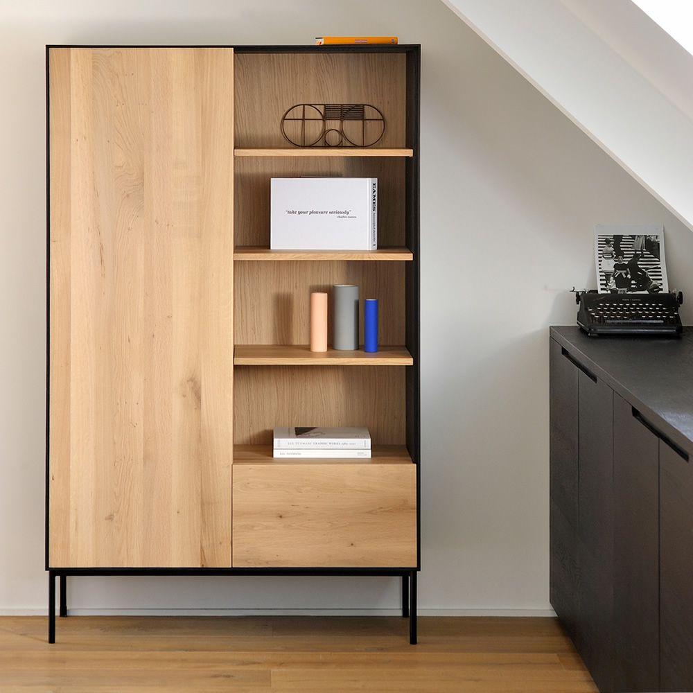 Blackbird b mobile soggiorno libreria ethnicraft in for Mensole legno naturale