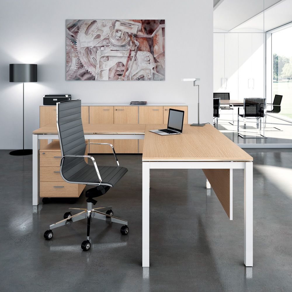 Office X4 02 L Shaped Desk For Office With Metal Frame