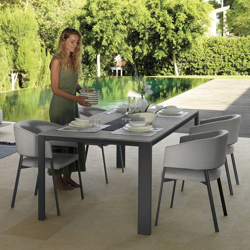 edent metal table for garden in graphite dark grey colour with cement - Garden Furniture Colours