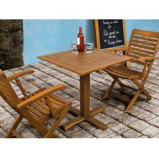 Adige - Tavolo in legno con piano quadrato 70x70 cm, per esterno