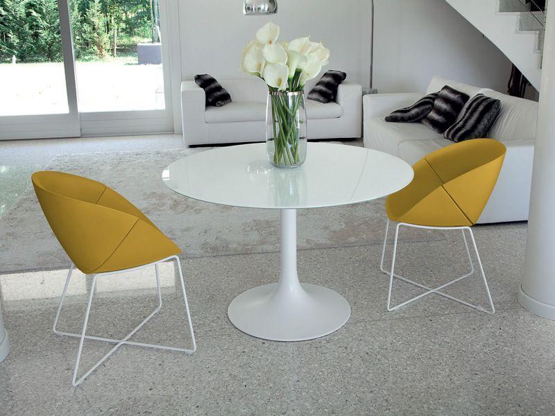 Corona 120 tavolo rotondo domitalia in metallo piano in for Tavolo tondo bianco