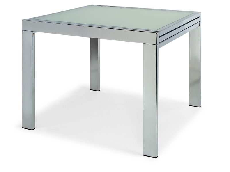 Vr90 table rallonge en m tal avec plateau en verre 90 x for Table a rallonge