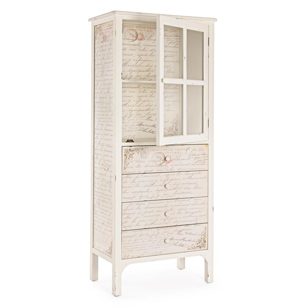Shakespeare vitrine shabby chic en bois avec une tag re for Shabby chic vitrine