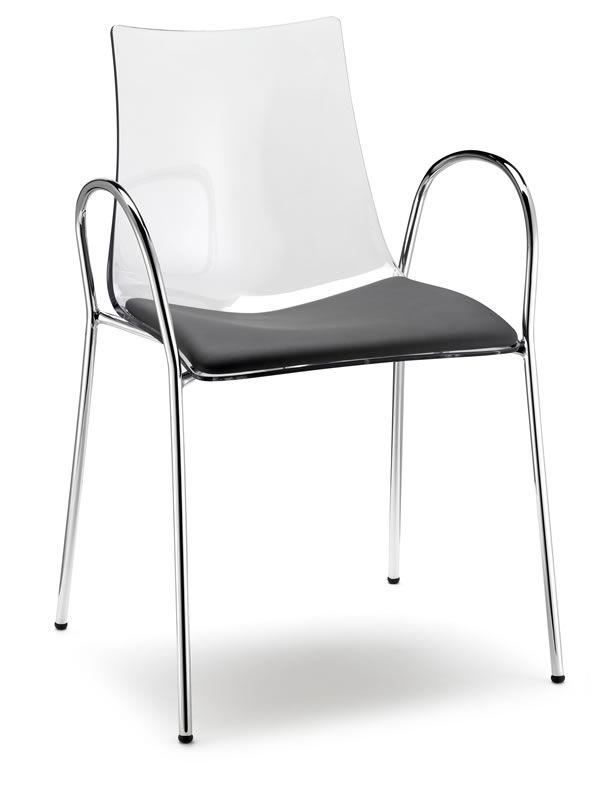 Zebra p 2605 transparenter stuhl mit armlehnen verschiedene farben auch mit kissen sediarreda - Transparenter stuhl ...