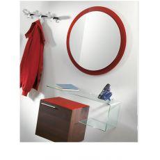Flexi D - Composizione mobile da ingresso con specchio, mobile e mensola in vetro