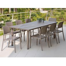 Libeccio - Tavolo allungabile in metallo, piano in resina 160x100 cm, per giardino
