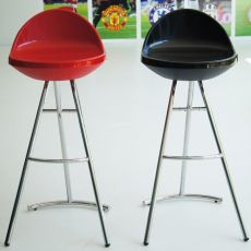 Hawaii - Midj fixed stool made of metal, seat in polycarbonate or polypropylene, different colours available