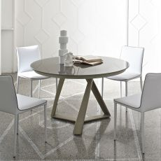 Millennium O Ext - Table design ronde de Bontempi Casa, à rallonge, diamètre de 125 cm, comportant une base centrale en métal et un plateau en verre, disponible en différentes couleurs