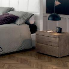 Kart-N - Table de chevet Dall'Agnese en bois, disponible en différentes finitions et dimensions, deux tiroirs