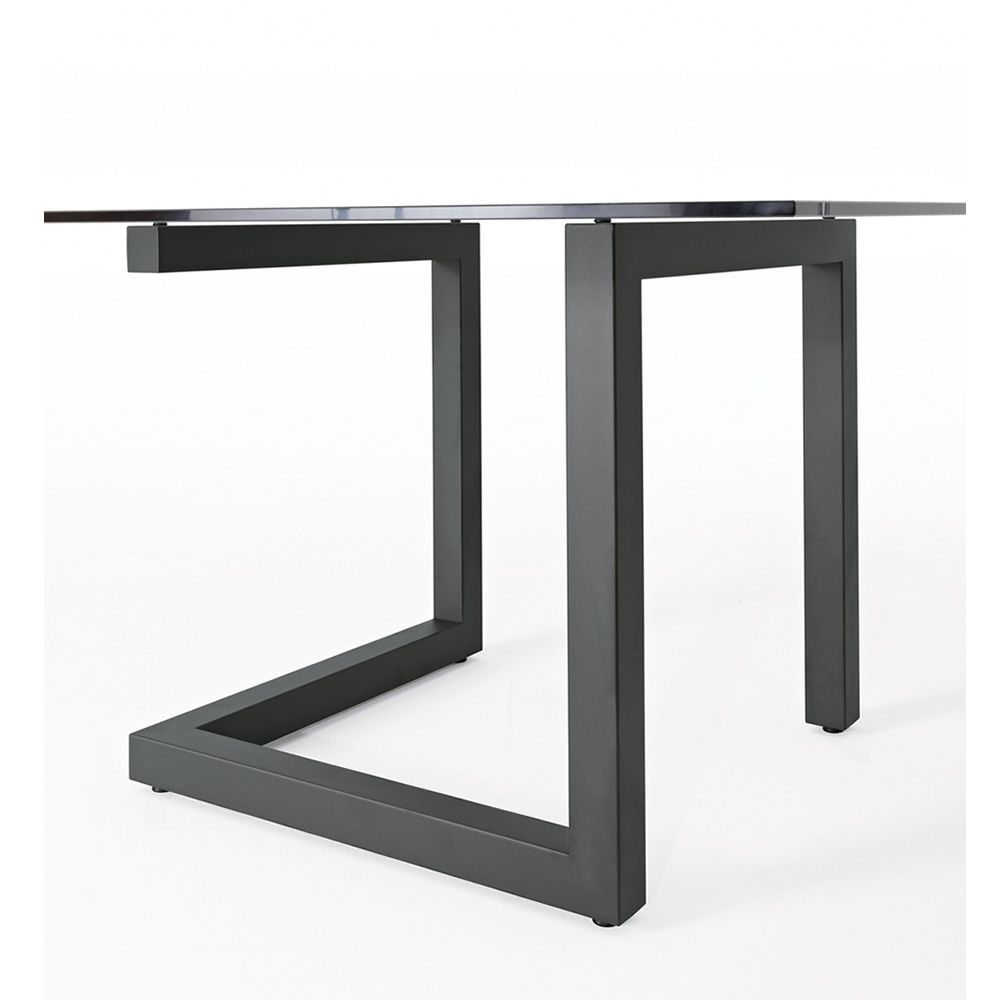 Teorico colico design table steel structure glass top for Table 140x140