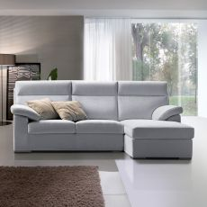 Dandy P - Sofa with reversible chaise longue, high backrest, totally removable covering, available in several colours