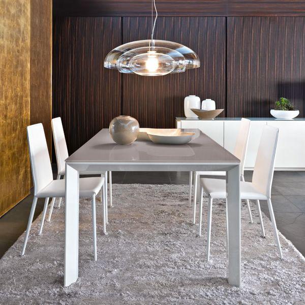 Cs4058 lv 160 omnia glass tavolo calligaris in legno con piano in vetro 160 x 90 cm - Tavolo vetro allungabile calligaris ...
