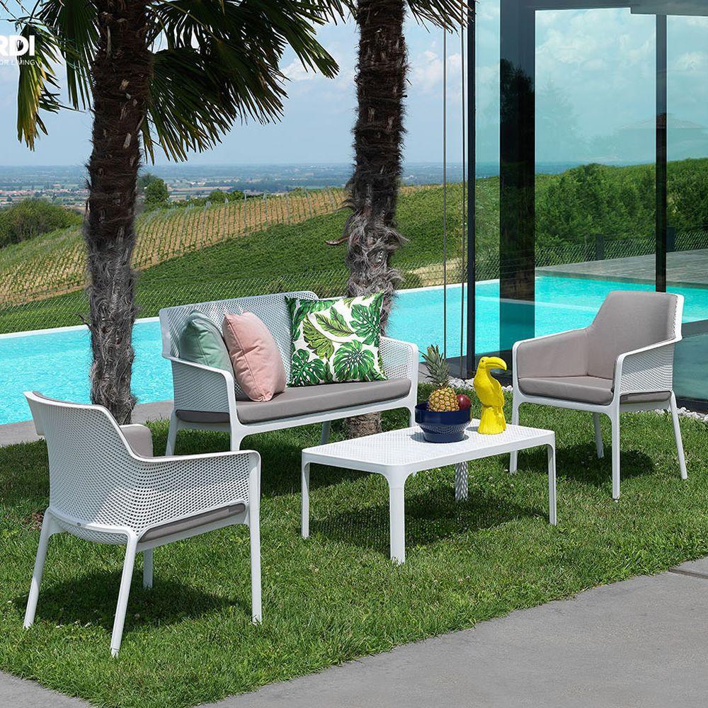 Net relax fauteuil en polypropyl ne empilable avec for Fauteuil relax pour jardin