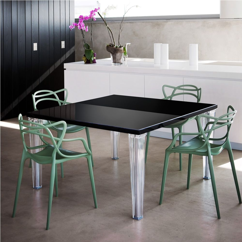 Toptop table table design kartell en m thacrylate plateau laqu ou en verr - Table en verre carree ...