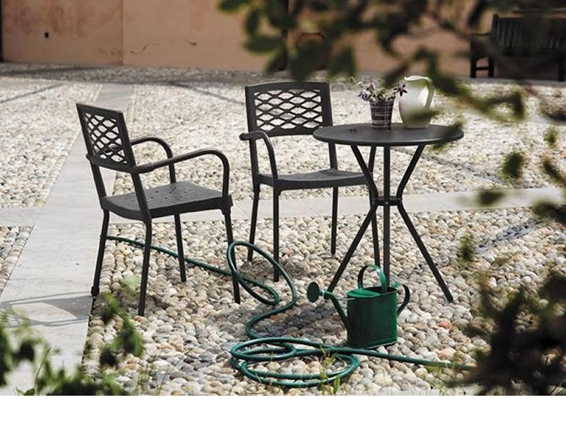 Leo 2721 tavolo tondo in metallo da giardino diametro for Tavolo giardino metallo