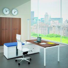 Idea CA-02 - Scrivania da ufficio con mobile di servizio, in metallo e laminato, disponibile in diverse dimensioni e colori