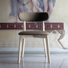 Anja - Wooden chair, padded seat and backrest, several colours available