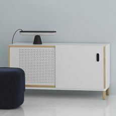 Kabino-S - Madia - mobile soggiorno Normann Copenhagen in legno e MDF, ante e cassetti in alluminio, diversi colori e misure disponibili