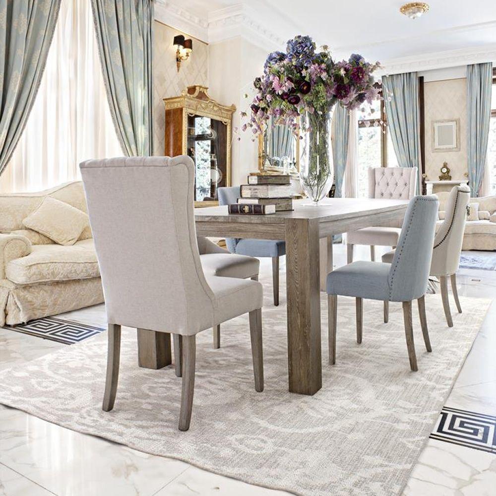 Assuan - Sedia classica in legno, con seduta e schienale imbottiti ...