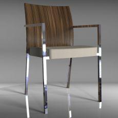 Brand P - Sedia design di Tonon, impilabile, con braccioli, struttura in metallo, schienale in legno, seduta rivestita in similpelle o tessuto, disponibile in diversi colori