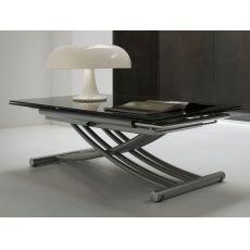 Mix - Tavolo Midj in metallo con piano in vetro, allungabile e regolabile in altezza