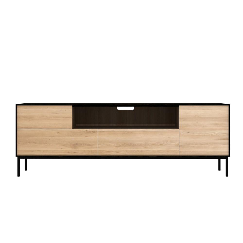 Blackbird tv mueble para tv ethnicraft de madera con for Mueble para tv con puertas