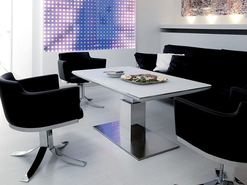 E motion transformable table in metal 120x74 cm glass for Table transformable conforama