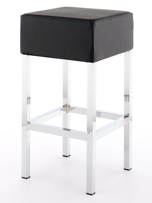 cube taburete moderno con asiento tapizado en smil piel negra