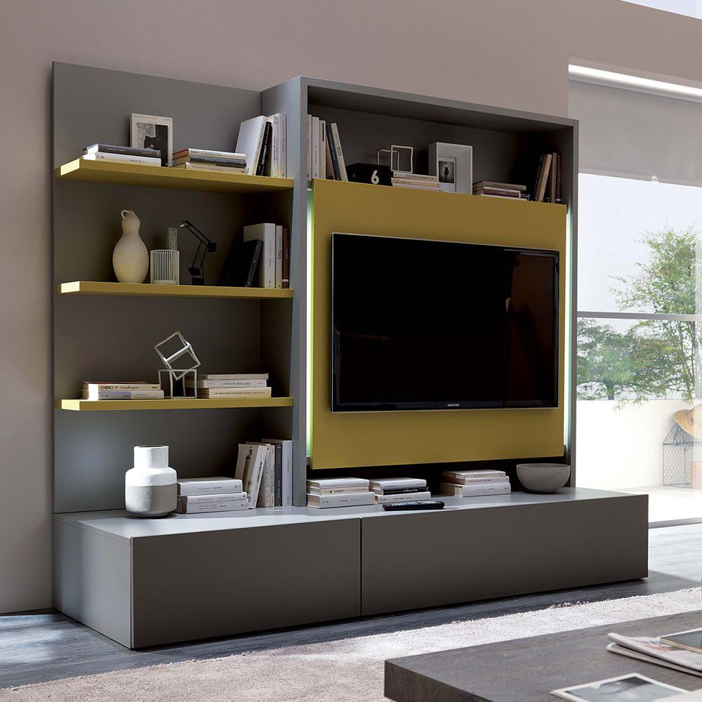 Smart living L  Mueble para salón en madera barnizada gris piedra