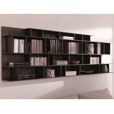 Byblos O - Libreria modulare da parete, in legno, disponibile in diversi colori