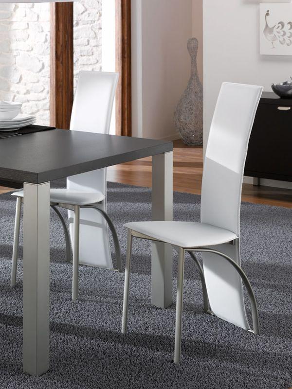 23L: Idealsedia Design-Stuhl aus Metall und Lederfaserstoff ...