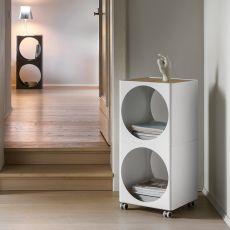 Ring - Modulo contenitore di design B-Line, in acciaio con piani in legno, impilabile, con o senza ruote, in diversi colori