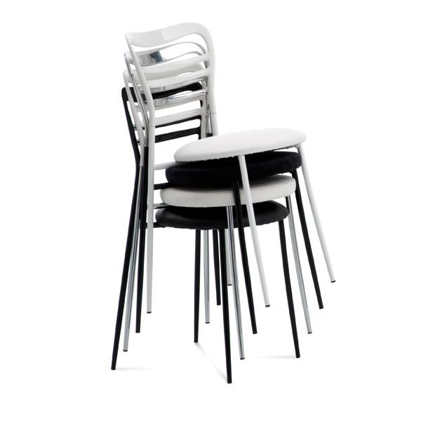 dora stackable chairs made of metal and aluminium with padded seat