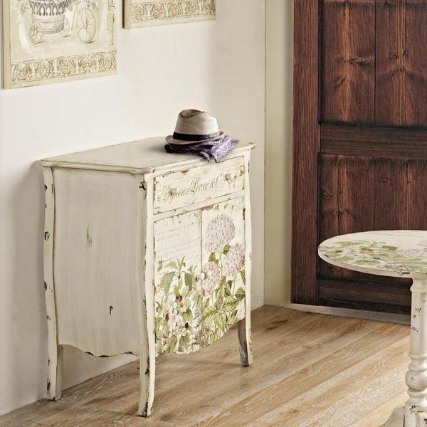 Elba credenza shabby chic in legno con cassetto 76x45 for Credenza shabby chic online