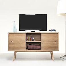 Classic - Mobile da soggiorno in legno, con ante scorrevoli, mensole e cassetti, diverse misure