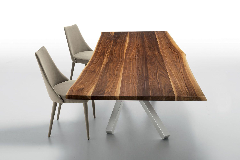 Pechino tavolo fisso midj in metallo e legno massello for Sedie acciaio e legno