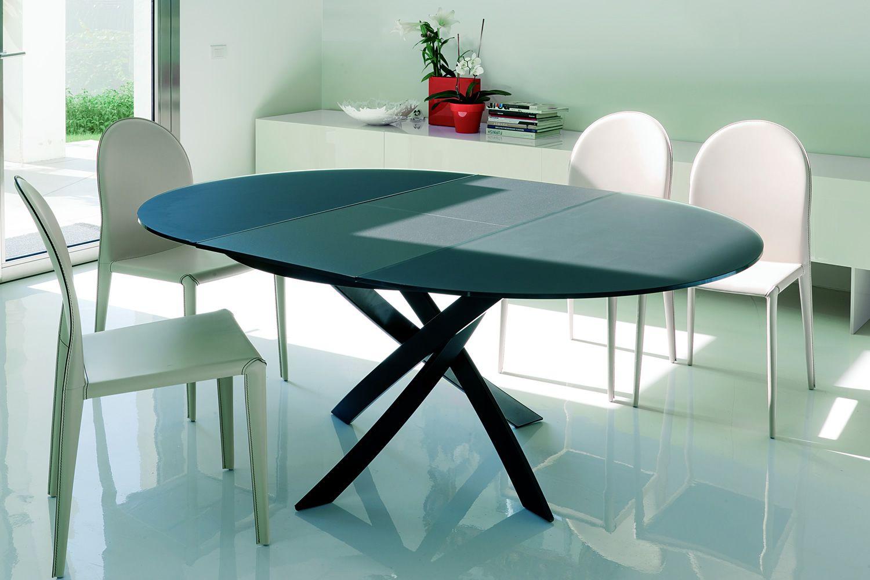 Barone ext mesa redonda de dise o bontempi casa for Mesa redonda de cristal extensible