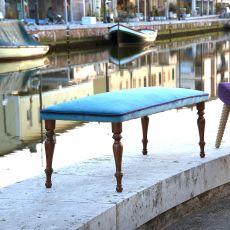 Venus - Panca Domingo Salotti in stile classico, con struttura in legno, rivestita con tessuto, pelle o similpelle, diversi colori