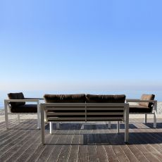 Kit esterno 25 - Outdoor living room with aluminum frame: sofa, 2 armchairs, coffee table