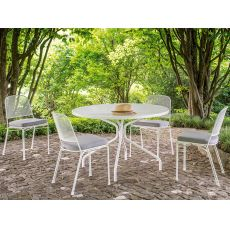 Cambi R - Tavolo Emu in metallo, per giardino, piano tondo diametro 106 cm